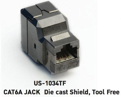 CAT6A RJ45 Modular Jack, Die Cast Shield, Tool Free